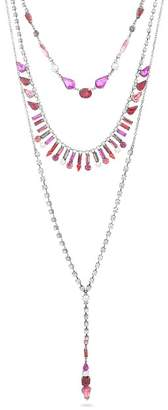 Steve Madden Rhinestone Triple Layer Lariat Necklace