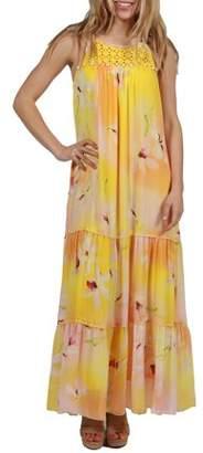 24/7 Comfort Apparel 24Seven Comfort Apparel Seraphina Flowy Yellow Maxi Dress