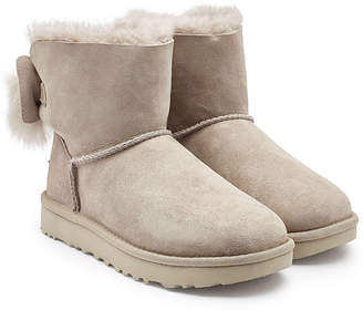 UGG Fluff Bow Mini Suede Boots