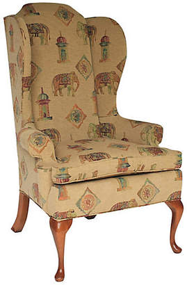 One Kings Lane Vintage High-Back Wing Chair - I Dream in Vintage