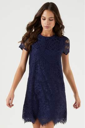 Lipsy Lace Shift Dress - 6 - Blue