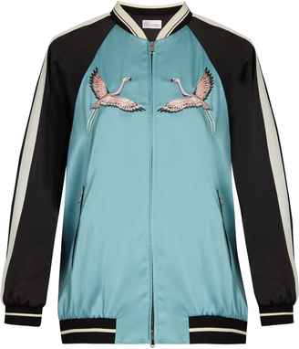 REDVALENTINO Embroidered contrast-sleeve satin bomber jacket $930 thestylecure.com