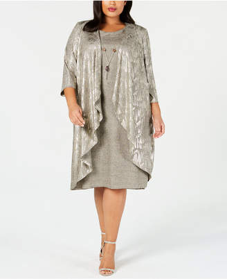 R & M Richards Plus Size Metallic Jacket Dress & Necklace