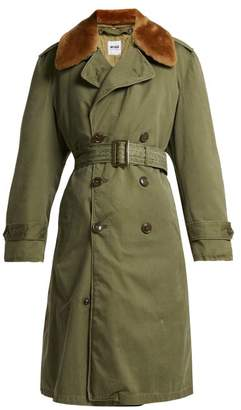 Myar - Double Breasted Wool Blend Gabardine Coat - Womens - Khaki