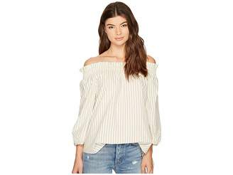 Kensie Oxford Stripe Off Shoulder Shirting Top KS8K4353 Women's Clothing