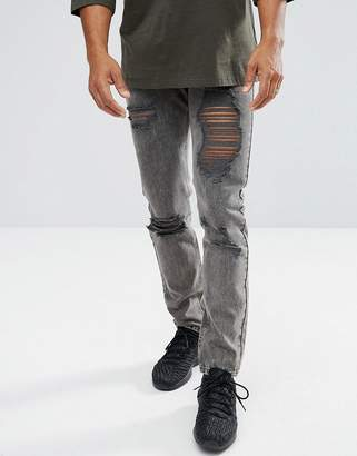 Mennace Slim Jeans In Washed Black With Distressing