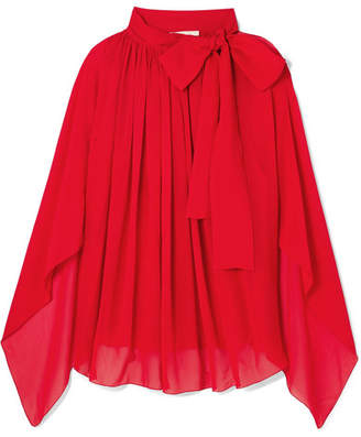 Antonio Berardi Tie-neck Silk-chiffon Top - Red