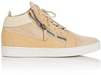 Giuseppe Zanotti Men's Suede & Leather Double-Zip Mid-Top Sneakers