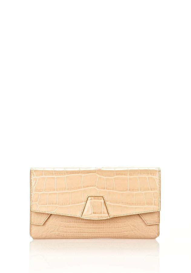 Alexander Wang Tri-Fold Clutch In Almond With Yellow Gold