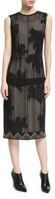 Derek Lam Studded Double-Layer Chiffon Dress