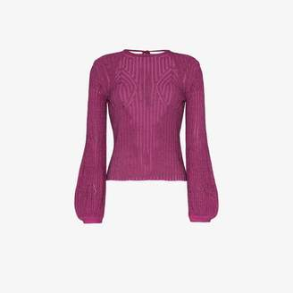 Chloé Tie back knitted long-sleeve cotton blend top