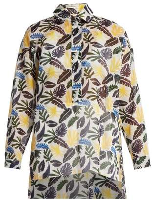 Kalmar - Leaf Print Cotton Shirt - Womens - White Multi