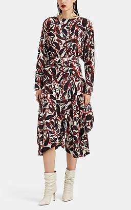 Chloé Women's Paisley Silk Belted Dress - Wht, Rd