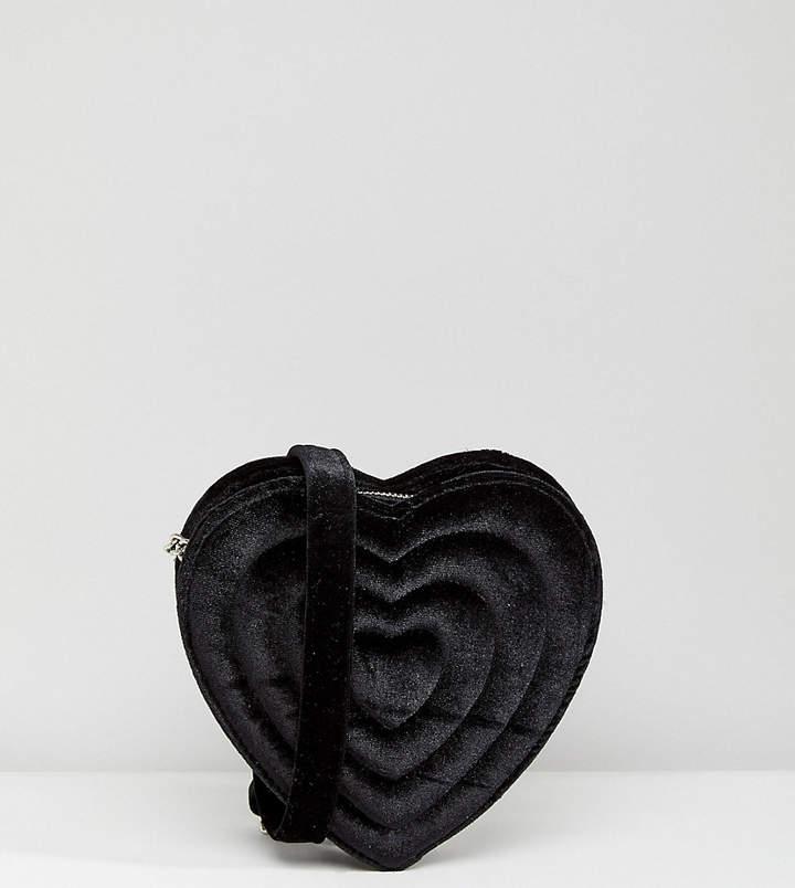 Monki Embossed Love Heart Velvet Bag