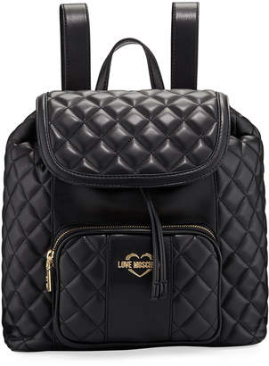 Love Moschino Borsa Quilted Faux-Leather Backpack Bag