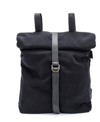 Cyan Black Canvas & Leather Backpack