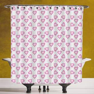 Cool Shower Curtain 3.0 by SCOCICI [ Teen Room Decor,First Love First Date Inspired Vivid Young Hearts with Inner Details Decorative,Lavander Purple ] Fabric Bathroom Decor Set with Hooks