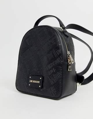 Love Moschino embossed backpack in black