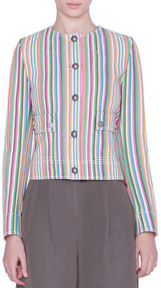 Akris Punto Striped Denim Button-Front Jacket