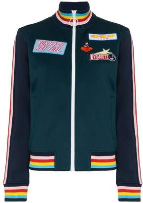 Mira Mikati embroidered patch bomber jacket