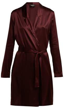 La Perla Silk Blend Robe - Womens - Burgundy