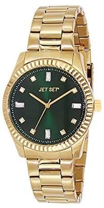 Jet Set J 59778-432 Cool Women's Quartz Analogue Watch-Steel Strap Green Dial Gold