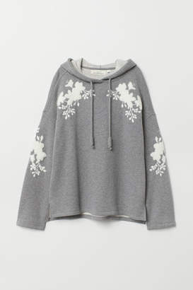 H&M Embroidered Hooded Sweatshirt - Gray