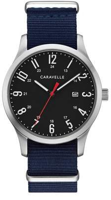 Bulova CARAVELLE Designed by Caravelle Men's Nylon Strap Watch with interchangeable Straps, Blue and Olive Green - 43B160