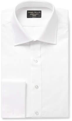 White Slim-Fit Double-Cuff Cotton Oxford Shirt