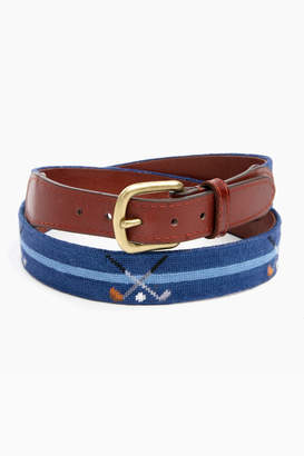 Smathers and Branson Classic Navy Crossed Clubs Needlepoint Belt