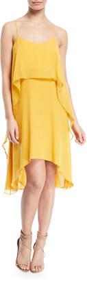 Halston Flowy Layered-Flounce Sleeveless Dress