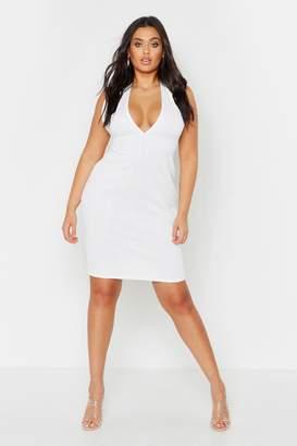 boohoo Plus Plunge Sculpt Bandage Midi Dress