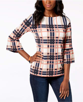 Charter Club Printed Flutter-Sleeve Top