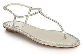Rene Caovilla Women's Crystal-Embellished Satin T-Strap Sandals