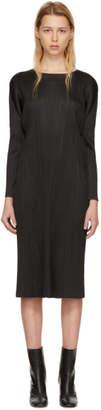 Pleats Please Issey Miyake Black Pleated Long Dress