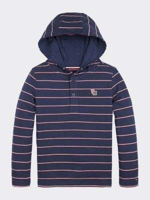 Tommy Hilfiger Stripe Hooded Long Sleeve T-Shirt