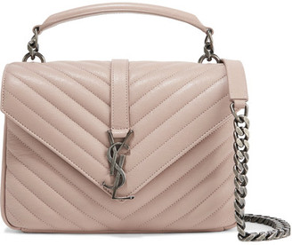 Saint Laurent - College Medium Quilted Leather Shoulder Bag - Blush $2,450 thestylecure.com
