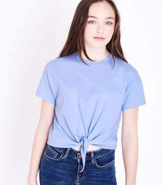 New Look Girls Pale Blue Tie Front T-Shirt