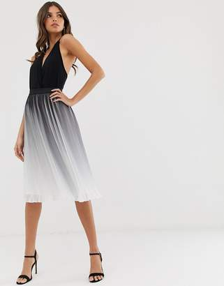 Chi Chi London pleated color block midi skirt in monochrome dip dye effect