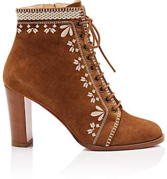 Christian Louboutin Women's Pichtoun Girl Embroidered Suede Ankle Boots