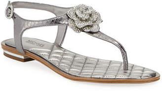MICHAEL Michael Kors Lucia Flat Metallic Leather Thong Sandals