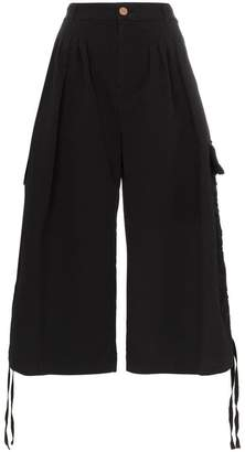 See by Chloe black wide leg cotton cargo trousers