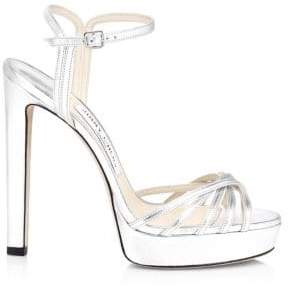 Jimmy Choo Lilah Metallic Leather Platform Sandals