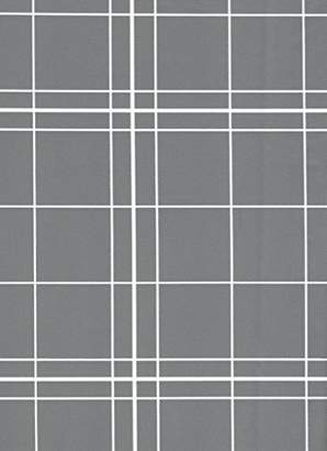 White Lines Flannelback Vinyl Tablecloth in Gray