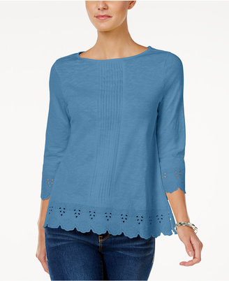 Charter Club Cotton Eyelet-Trim Top, Only at Macy's $59.50 thestylecure.com