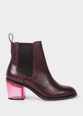 Paul Smith Women's Bordeaux Leather 'Shelby' Boots With Pink Transparent Heels
