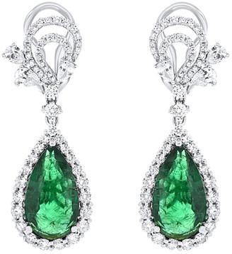 Diana M Fine Jewelry 18K 11.01 Ct. Tw. Diamond & Emerald Drop Earrings