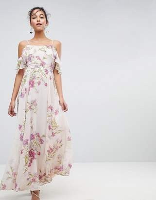 Asos DESIGN Floral Print Maxi Dress with Ruffle Cold Shoulder
