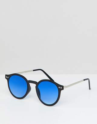 Spitfire round sunglasses in black with blue lens
