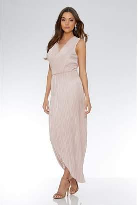 Quiz Nude Pleated Wrap Sleeveless Maxi Dress